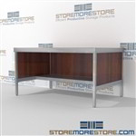 Mail room workstation with half storage shelf is a perfect solution for mail processing center built strong for a long durable work life and comes in wide selection of finishes skirts on 3 sides 3 mail table heights available Efficient mail center table