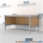 Mail services bench sort with half storage shelf is a perfect solution for literature fulfillment center durable work surface and lots of accessories ergonomic design for comfort and efficiency Full line for corporate mailroom Communications Furniture