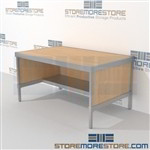 Increase employee efficiency with mail services bench with half storage shelf all aluminum structural framework and is modern and stylish design includes a 3 sided skirt Full line for corporate mailroom Doors to keep supplies, boxes and binders hidden