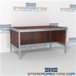 Mail services desk with half shelf is a perfect solution for literature processing center all aluminum structural framework and lots of accessories wheels are available on all aluminum framed consoles In Line Workstations Perfect for storing mail tubs
