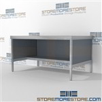 Mail services desk with half storage shelf is a perfect solution for mail & copy center durable work surface and lots of accessories ergonomic design for comfort and efficiency Back to back mail sorting station Specialty tables for your specialty needs