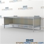 Increase employee moral with mail adjustable workbench with lower half shelf all aluminum structural framework with an innovative clean design built using sustainable materials Full line for corporate mailroom Perfect for storing mail scales and supplies