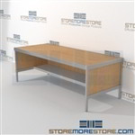 Improve your company mail flow with mail services workbench sort with half storage shelf built for endurance and comes in wide range of colors wheels are available on all aluminum framed consoles 3 mail table depths available Mix and match components