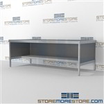 Increase efficiency with mail center workbench with lower half storage shelf built strong for a long durable work life and comes in wide selection of finishes quality construction 3 mail table depths available Perfect for storing mail machines and scales