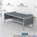 Mailroom adjustable distribution consoles with half shelf are a perfect solution for internal post offices durable work surface and lots of accessories skirts on 3 sides Specialty configurations available for your businesses exact needs Hamilton Sorter