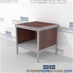 Mail flow workbench with lower shelf is a perfect solution for outgoing mail center long durable life and comes in wide selection of finishes skirts on 3 sides Full line of sorter accessories Perfect for storing literature like catalogs and brochures