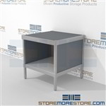 Increase employee moral with mail adjustable workbench with storage shelf durable work surface and comes in wide selection of finishes all consoles feature modesty panels located at the rear Full line of sorter accessories Perfect for storing mail tubs