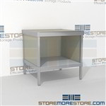 Increase employee moral with mail flow workbench with bottom storage shelf built for endurance and comes in wide selection of finishes all consoles feature modesty panels located at the rear Full line for corporate mailroom Efficient mail center table