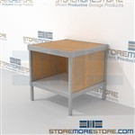 Mail work table with full shelf is a perfect solution for corporate services product is constructed of industrial grade 40-50 lb. substrate and aluminum extrusions and lots of accessories skirts on 3 sides 3 mail table depths available Hamilton Sorter