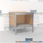Mail rolling desk with bottom storage shelf is a perfect solution for literature fulfillment center built for endurance and lots of accessories wheels are available on all aluminum framed consoles Full line for corporate mailroom Mix and match components