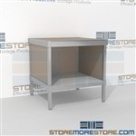 Mail bench with full shelf is a perfect solution for document processing center strong aluminum framed console and is modern and stylish design ergonomic design for comfort and efficiency In line workstations Perfect for storing mail scales and supplies