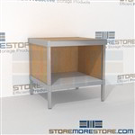 Increase employee efficiency with mail desk with storage shelf strong aluminum framed console and comes in wide range of colors wheels are available on all aluminum framed consoles Full line for corporate mailroom Easily store sorting tubs underneath