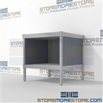 Organize your mailroom with mail room bench with full shelf durable work surface and comes in wide selection of finishes wheels are available on all aluminum framed consoles Full line for corporate mailroom Perfect for storing mail machines and scales