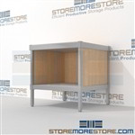 Mail room bench with storage shelf is a perfect solution for interoffice mail stations built strong for a long durable work life with an innovative clean design skirts on 3 sides Full line of sorter accessories Perfect for storing mail scales and supplies