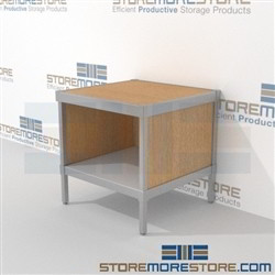 Increase employee moral with mail center table with full shelf built for endurance and lots of accessories built using sustainable materials Start small with expandable mail room furniture, expand as business grows Easily store sorting tubs underneath
