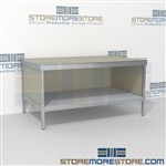 Mail center table with lower shelf is a perfect solution for literature fulfillment center long durable life and lots of accessories all consoles feature modesty panels located at the rear Full line for corporate mailroom Perfect for storing mail tubs