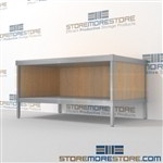 Increase efficiency with mail room adjustable workbench with lower shelf all aluminum structural framework and lots of accessories skirts on 3 sides Full line for corporate mailroom Bottom Cabinet perfect for storing mailroom scales, envelopes, binders