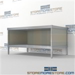 Improve your company mail flow with mail center bench with bottom storage shelf long durable life and comes in wide selection of finishes skirts on 3 sides Specialty configurations available for your businesses exact needs Efficient mail center table