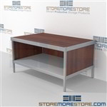 Increase employee moral with mail flow mobile furniture with bottom shelf mail table weight capacity of 1200 lbs. and is modern and stylish design includes a 3 sided skirt In line workstations Perfect for storing literature like catalogs and brochures