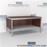 Mail center workstation with bottom shelf is a perfect solution for mail processing center long durable life and variety of handles available skirts on 3 sides Specialty configurations available for your businesses exact needs Efficient mail center table