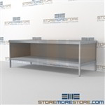 Mail flow table with lower shelf is a perfect solution for literature processing center durable work surface and comes in wide range of colors wheels are available on all aluminum framed consoles 3 mail table depths available Efficient mail center table