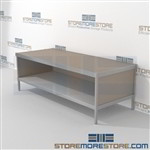 Mailroom adjustable desk with full shelf is a perfect solution for corporate mail hub long durable life and comes in wide selection of finishes built using sustainable materials L Shaped Mail Workstation For the Distribution of mail and office supplies
