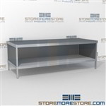 Mail services desk with full shelf is a perfect solution for document processing center durable work surface and lots of accessories wheels are available on all aluminum framed consoles In line workstations Perfect for storing mail machines and scales