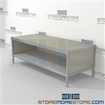 Increase employee accuracy with mail flow work table with bottom shelf strong aluminum framed console and comes in wide selection of finishes all consoles feature modesty panels located at the rear L Shaped Mail Workstation Perfect for storing mail tubs