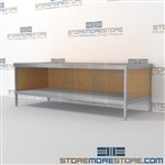 Mail services desk with bottom shelf is a perfect solution for interoffice mail stations durable work surface and variety of handles available ergonomic design for comfort and efficiency L Shaped Mail Workstation Specialty tables for your specialty needs