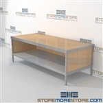 Mailroom adjustable workbench with bottom storage shelf is a perfect solution for interoffice mail stations strong aluminum framed console and comes in wide range of colors includes a 3 sided skirt Over 1200 Mail tables available Communications Furniture
