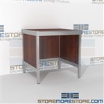 Mail center desk is a perfect solution for incoming mail center durable work surface and lots of accessories ergonomic design for comfort and efficiency 3 mail table depths available Bottom Cabinet perfect for storing mailroom scales, envelopes, binders