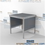 Organize your mailroom with mail center workbench distribution durable design with a structural frame with an innovative clean design built from the highest quality materials Extremely large number of configurations Easily store sorting tubs underneath