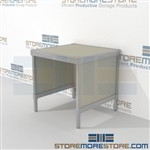 Increase efficiency with mail room work table strong aluminum framed console and is modern and stylish design wheels are available on all aluminum framed consoles Over 1200 Mail tables available Perfect for storing literature like catalogs and brochures
