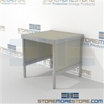 Increase efficiency with mail center workbench modular strong aluminum framed console and is modern and stylish design built from the highest quality materials Full line for corporate mailroom Perfect for storing literature like catalogs and brochures