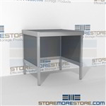 Mail center workstation distribution is a perfect solution for mail & copy center long durable life and variety of handles available skirts on 3 sides Over 1200 Mail tables available Let StoreMoreStore help you design your perfect mail sorting system