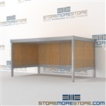 Mail center table modular is a perfect solution for mail processing center all aluminum structural framework and is modern and stylish design wheels are available on all aluminum framed consoles Full line for corporate mailroom Efficient mail center table
