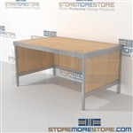 Increase employee efficiency with mail center sorting table durable work surface and lots of accessories quality construction In line workstations Let StoreMoreStore help you design your perfect {mailroom | literature processing | mail sorting} system