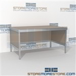 Mail flow adjustable bench is a perfect solution for mail processing center long durable life and variety of handles available all consoles feature modesty panels located at the rear Full line for corporate mailroom Easily store sorting tubs underneath