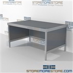 Mail center rolling workstation is a perfect solution for literature fulfillment center long durable life and variety of handles available all consoles feature modesty panels located at the rear Full line for corporate mailroom Mix and match components