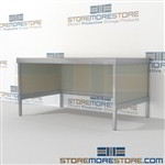 Mail center mobile consoles are a perfect solution for corporate mail hub durable work surface and comes in wide selection of finishes wheels are available on all aluminum framed consoles In Line Workstations Specialty tables for your specialty needs