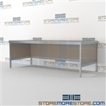 Increase employee accuracy with mail workbench equipment mail table weight capacity of 1200 lbs. and is modern and stylish design includes a 3 sided skirt In Line Workstations Let StoreMoreStore help you design your perfect literature processing system