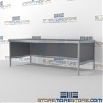 Mail center mobile work table is a perfect solution for mail processing center all aluminum structural framework and comes in wide range of colors wheels are available on all aluminum framed consoles 3 mail table depths available Communications Furniture