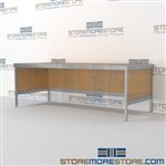 Mail table furniture is a perfect solution for literature processing center built strong for a long durable work life and lots of accessories includes a 3 sided skirt 3 mail table depths available Let StoreMoreStore help you design your perfect mailroom