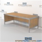 Mail flow desk modular is a perfect solution for literature fulfillment center strong aluminum framed console and variety of handles available wheels are available on all aluminum framed consoles 3 mail table depths available Communications Furniture