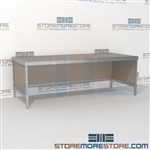 Increase efficiency with mail flow rolling work table strong aluminum framed console and lots of accessories skirts on 3 sides In Line Workstations Let StoreMoreStore help you design your perfect {mailroom | literature processing | mail sorting} system