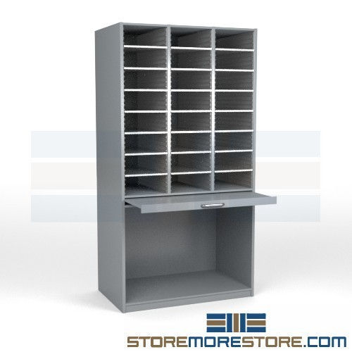 legal size mail sorting station with roll out shelf bottom storage rh storemorestore com