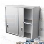 "36"" Stainless Hanging Cabinet Sliding Doors Adjustable Storage Shelves C1436W"