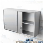 "54"" Stainless Hanging Wall Storage Cabinet with Doors Adjustable Shelf C1454W"