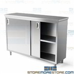 Welded Sliding Door Cabinet Backsplash 36x30x35 Stainless Bench C3036 Tarrison