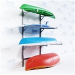 Canoe and kayak wall stainless steel storage rack great for indoors or out side in harsh sea side and lake side environments you can also store Wakeboards, Paddleboard, Skis, Surf boards and more, includes adjustable levels and locking features CKR-4WM